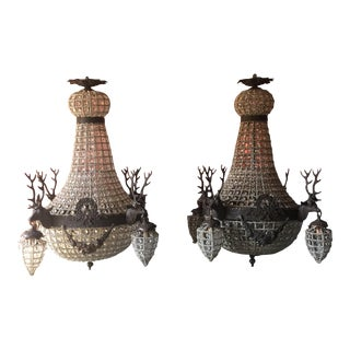 Dark Bronze Deer Stag Chandeliers - A Pair