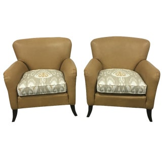 Tan Leather & Ikat Chairs - A Pair