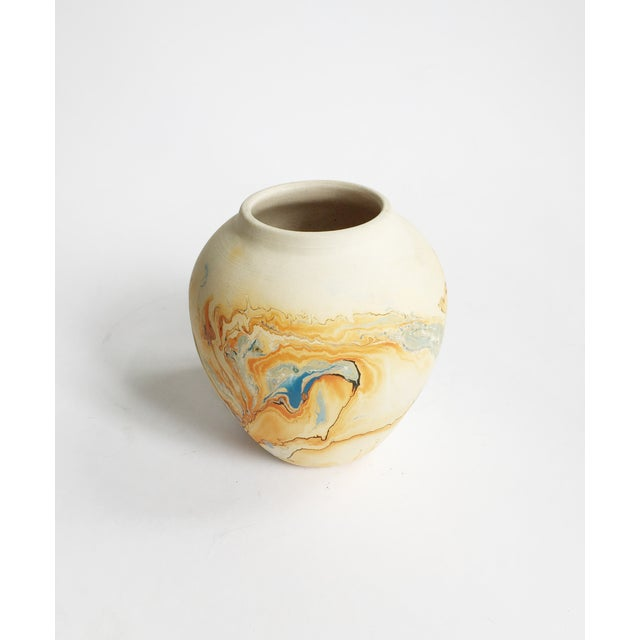 Vintage Blue & Orange Nemadji Pottery Vase - Image 3 of 5