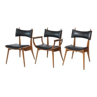 Fine Set of Twelve Italian Modern Dining Chairs, 1950s
