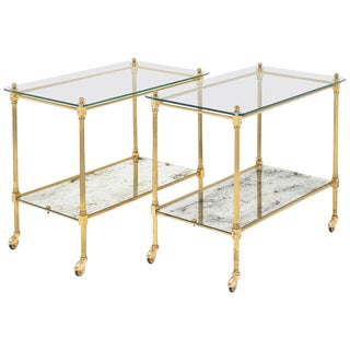 French Art Deco Vintage Brass Bar Carts