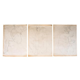 Original Large Scale Mid-Century Triptych of Nudes - Set of 3