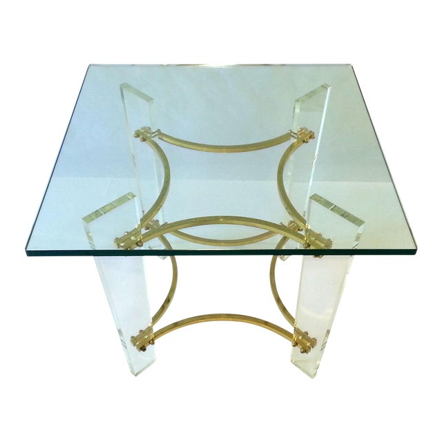 Vintage 1970's Lucite, Brass & Glass Coffee Table