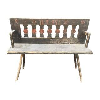 Antique Rustic European Bench