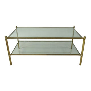 French Double Level Brass Cocktail Table Attributed to Masion Jansen