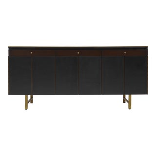 Credenza With Leather Doors and Brass Accents by Paul Mccobb for Calvin