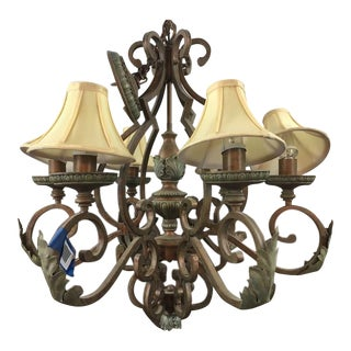 Six Arm Chandelier With Lamp Shades