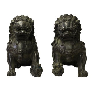 Pair Chinese Green Black Metal Fengshui Foo Dog Figures