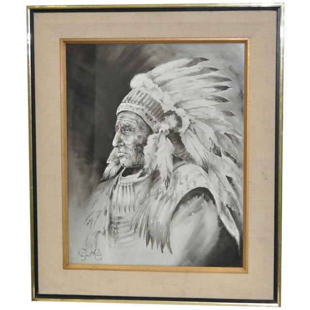 Doris Reese Native American Indian Watercolor - Image 1 of 5