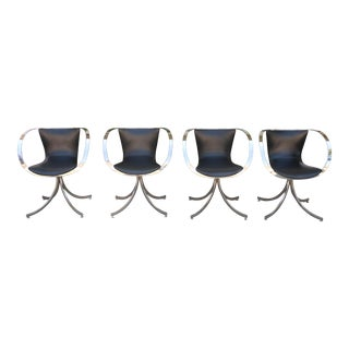Italian Style Set of Chrome Arm Chairs