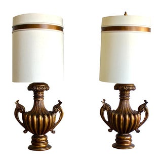 Vintage Hollywood Regency Urn Table Lamps - A Pair