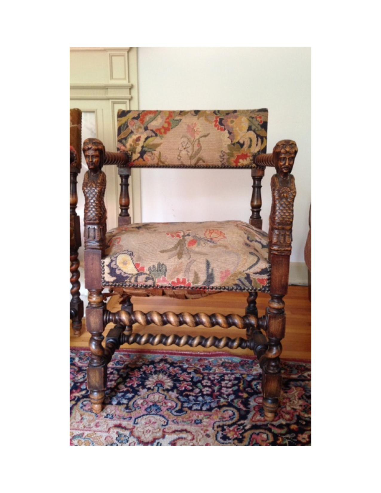 Antique Jacobean English Barley Twist Needlepoint Chairs   Set Of Four    Image 3 Of 11