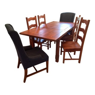 Primitive Farmhouse Solid Oak Dining Set