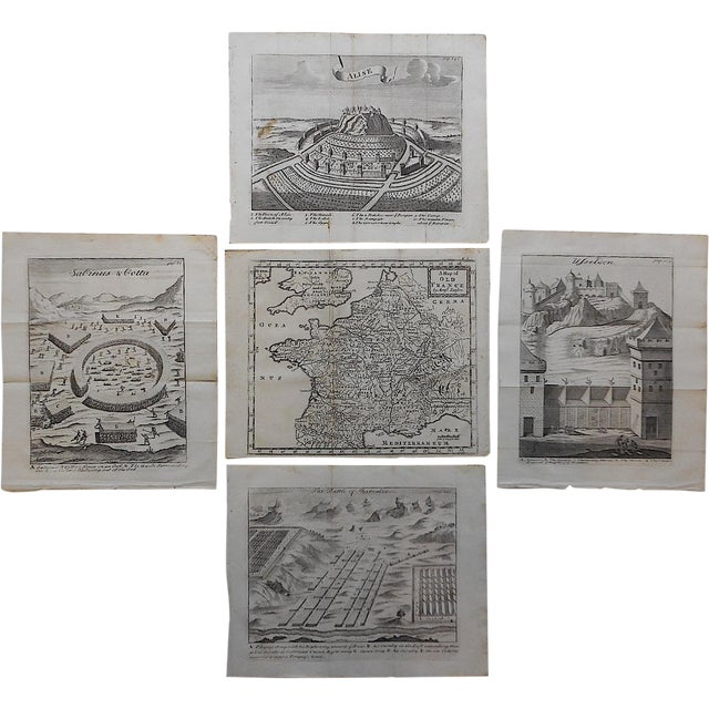 Antique French Maps/Plans Engravings - Set of 5 - Image 1 of 3