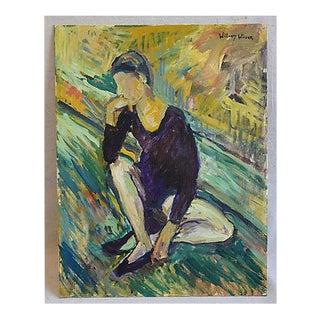 Midcentury Williard Wiener, Abstract Ballerina Dancer Oil Painting