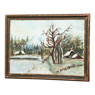Vintage 1931 Winter Landscape Oil Painting