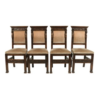 1890s Baronial Italian Renaissance-Style Chairs, S/4