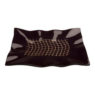 Black Lacquer Wavy Edge Tray Inlaid with Basketweave Bamboo, Malaysia