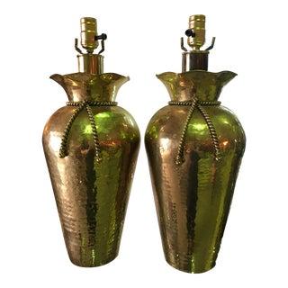 Sarreid Brass Hand Hammered Tassel Lamp - A Pair