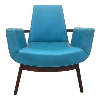 Blue Mid-Century Walnut Lounge Chair
