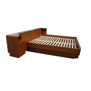 Vintage Mid-Century Danish Teak Platform Bed With Nightstands