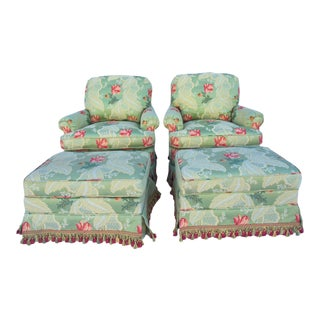 Celadon Floral Swivel Rocker Chairs and Ottomans - a Pair
