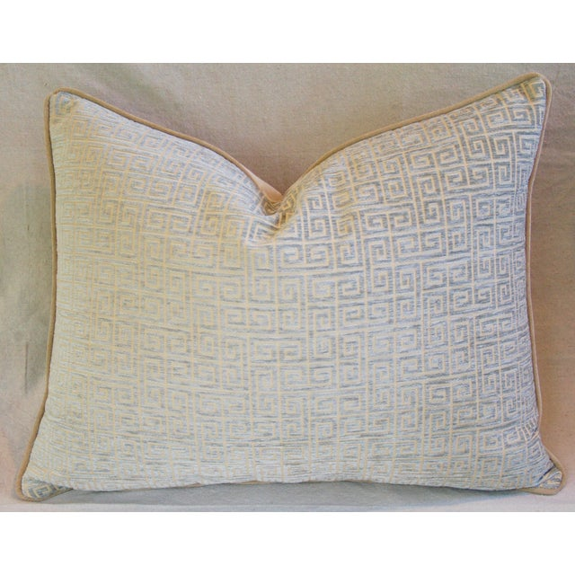 Designer Teal-Sea Mist Greek Key Velvet Pillow - Image 2 of 5