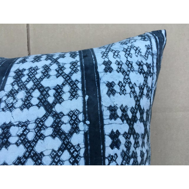 Gray Batik Cotton Tribal Pillow - Image 5 of 7