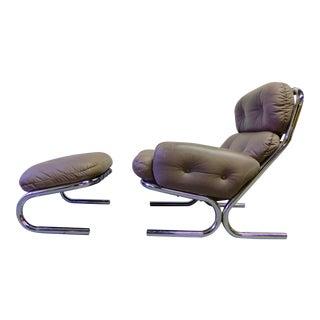 Mid-Century Modern Tufted Leather Chrome Lounge Chair & Ottoman