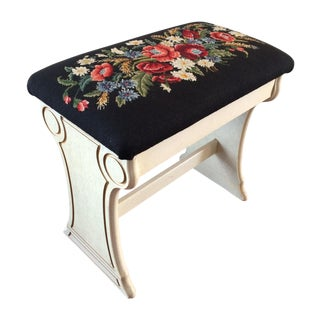 Vintage Custom Needlepoint Storage Bench