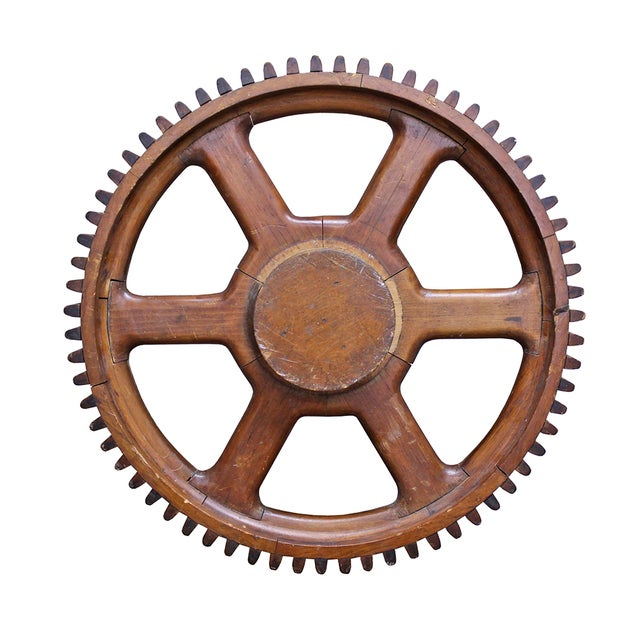 Vintage Wood Gear - Image 1 of 2