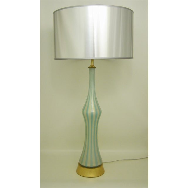 Image of Italian Murano Blue, White and Gold Mid-Century Modern Murano Glass Table Lamp MCM Barbini Venetian