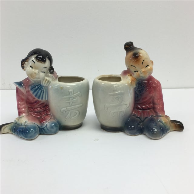Image of Mid-Century-Style Asian Flower Vases- a Pair