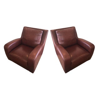 Crate & Barrel Leather Club Chairs - Pair