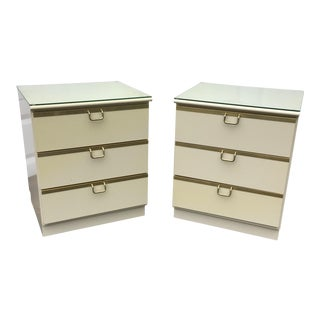 White & Brass Bedside Tables - A Pair