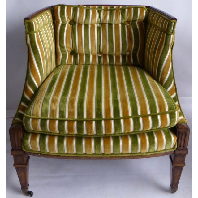 Mid-Century Green & Gold Club Chairs - A Pair - Image 2 of 8