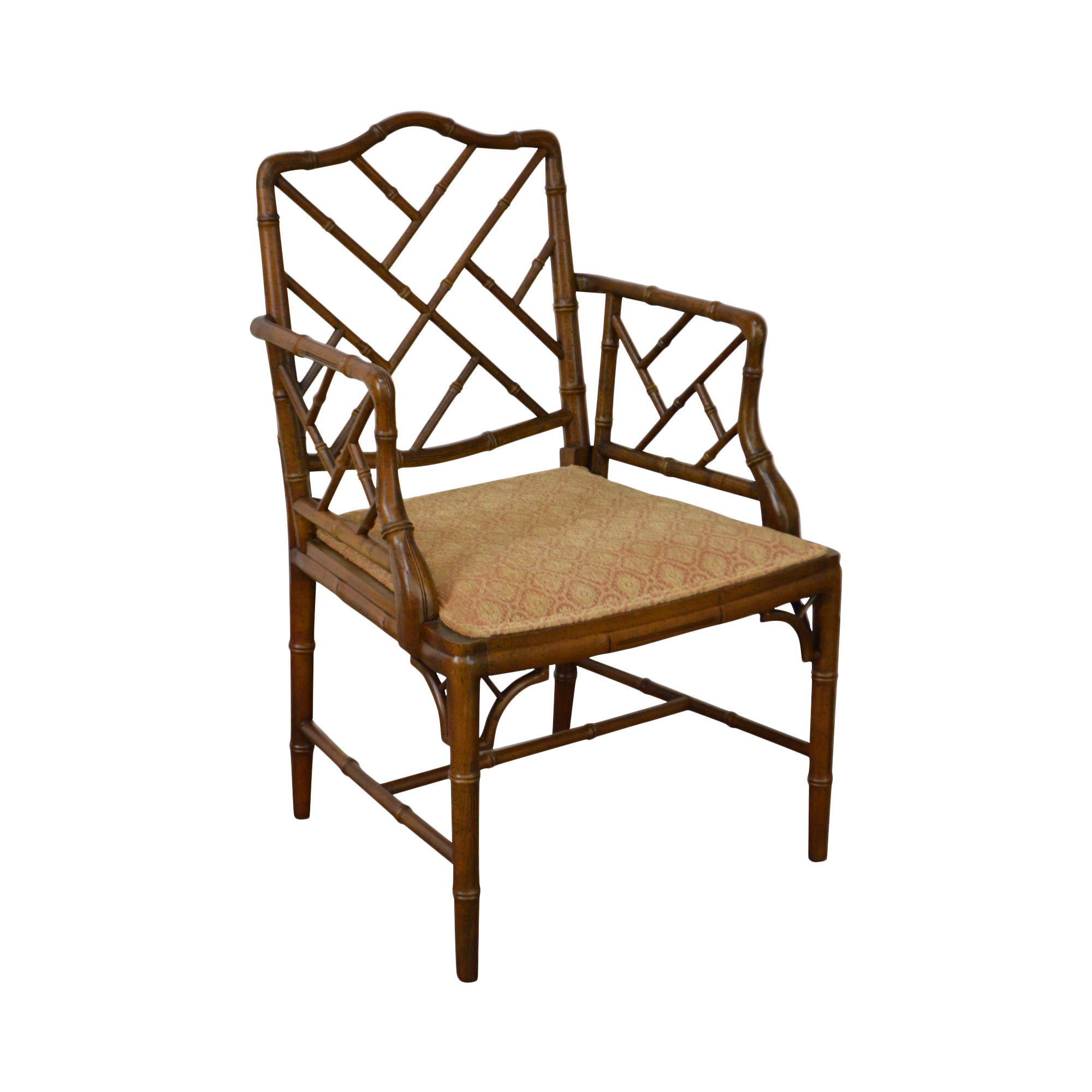 Chinese Chippendale Style Faux Bamboo Arm Chair