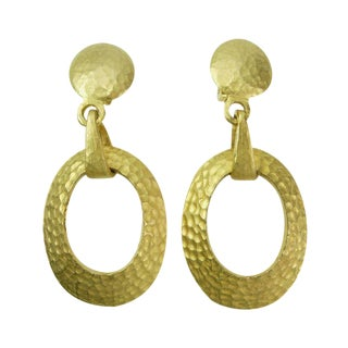 80s Tribal Style 3+ In. Hammered Goldtone Earrings
