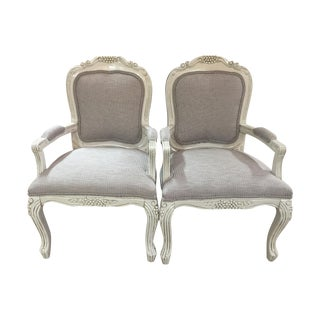 Vintage French Country Bergere Chairs - Pair