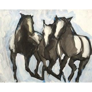 Three Running Horses - Mixed Media Painting