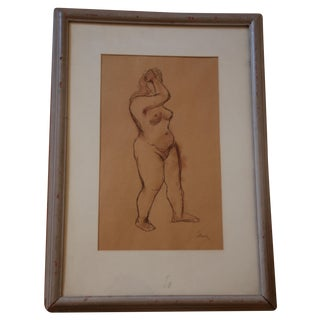 Signed German Nude Pen and Ink Drawing