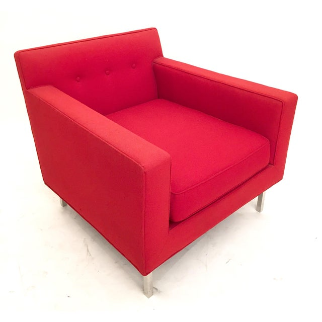 Upholstered red dunbar arm chair chairish for Red and white upholstered chairs