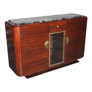 French Art Deco Macassar Ebony Sideboard / Buffet Marble Top Circa 1940s