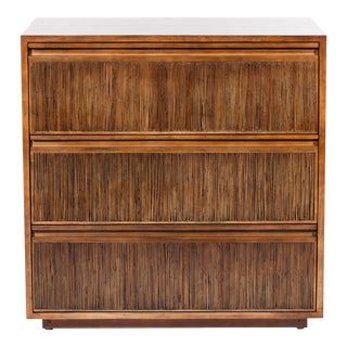 David Francis Three Drawer Rattan Chest