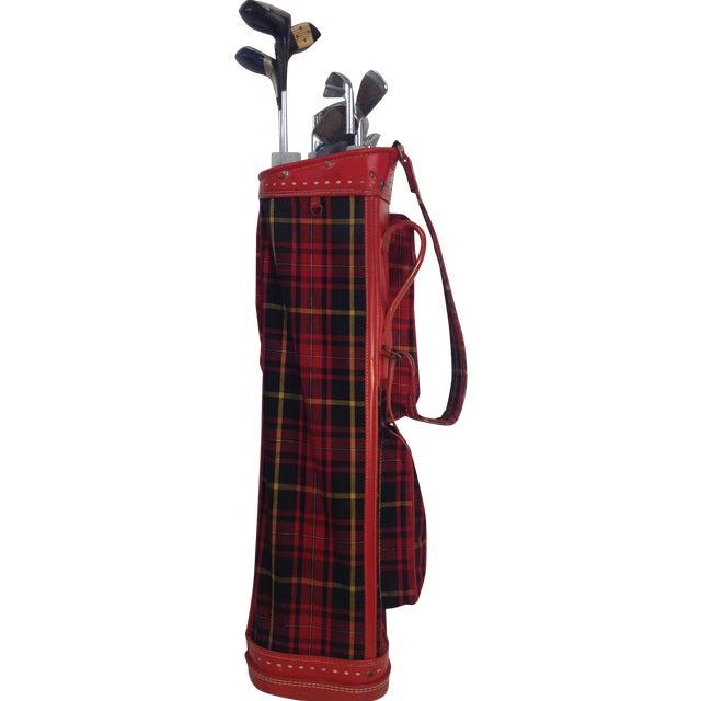 Vintage 1960s Red Tartan Spalding Golf Bag & Clubs - Image 1 of 7