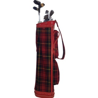 Vintage 1960s Red Tartan Spalding Golf Bag & Clubs