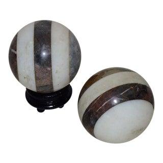 Italian Striped Marble Balls - A Pair