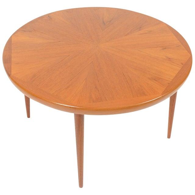 Round Teak Coffee Table: Danish Modern Round Starburst Teak Coffee Table