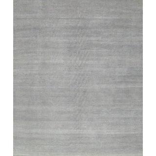 "Transitional Gray Silk & Wool Rug - 8'10"" x 12'1"""