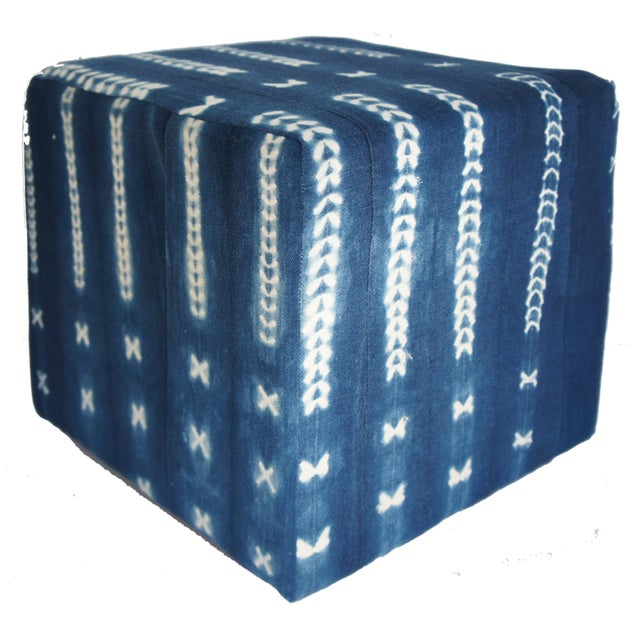 Vintage African Indigo Mudcloth Cube Ottoman - Image 1 of 4